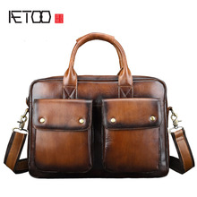 AETOO Genuine Leather Briefcase men Business Fashion Messenger Bag 14' Laptop Bag Crossbody Bags Tote casual monoleth genuine leather briefcase men business fashion messenger bag 14 laptop bag crossbody bags tote casual