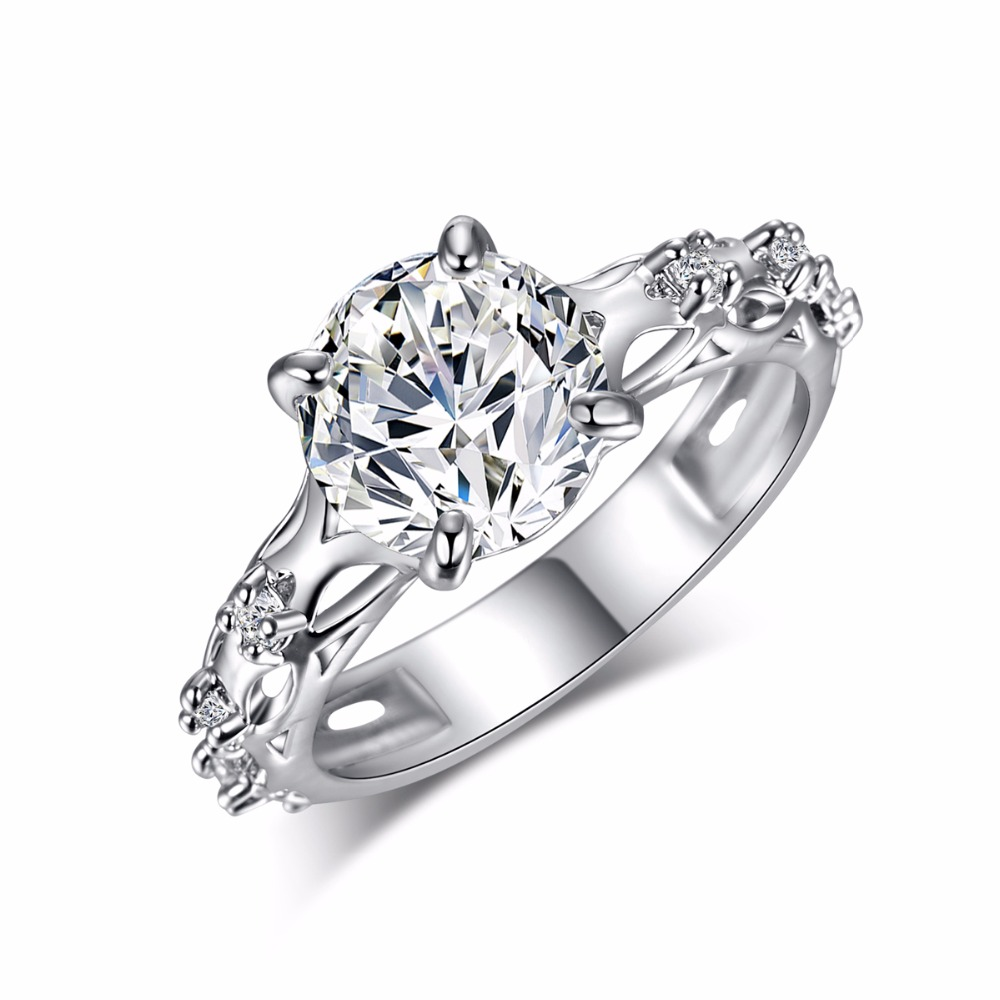 Top Quality Clear White AAA Zircon Crystal Silver Ring for Women Girls Mom Luxury Jewelry Fashion Wedding Party Finger Rings