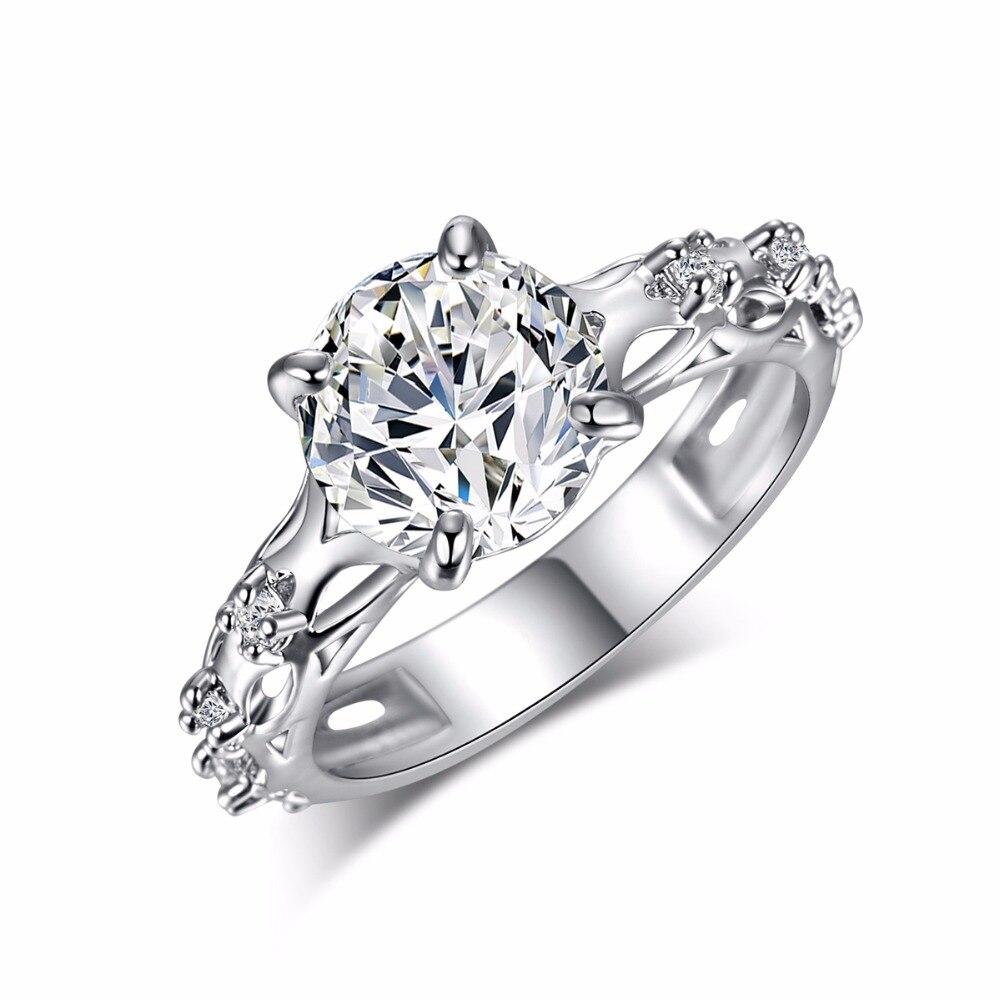 Top Quality Clear White AAA Zircone Cristallo Anello D'argento per Le Donne Ragazze Mamma Gioielli Di Lusso Fashion Wedding Party Anelli di Barretta