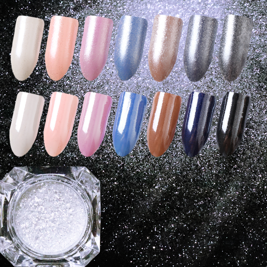 Us 0 93 15 Off 1 5g Born Queen Diamond White Pearl Nail Powder Super Shining Nail Glitter Flakes Chrome Dust Diy Manicure Nail Art Decoration In