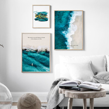 Landscape Wall Art Canvas Painting Green Ocean Wave Beach Seascape Nordic Posters And Prints Wall Pictures For Living Room Decor simba игровой набор с куклой еви 9 предметов