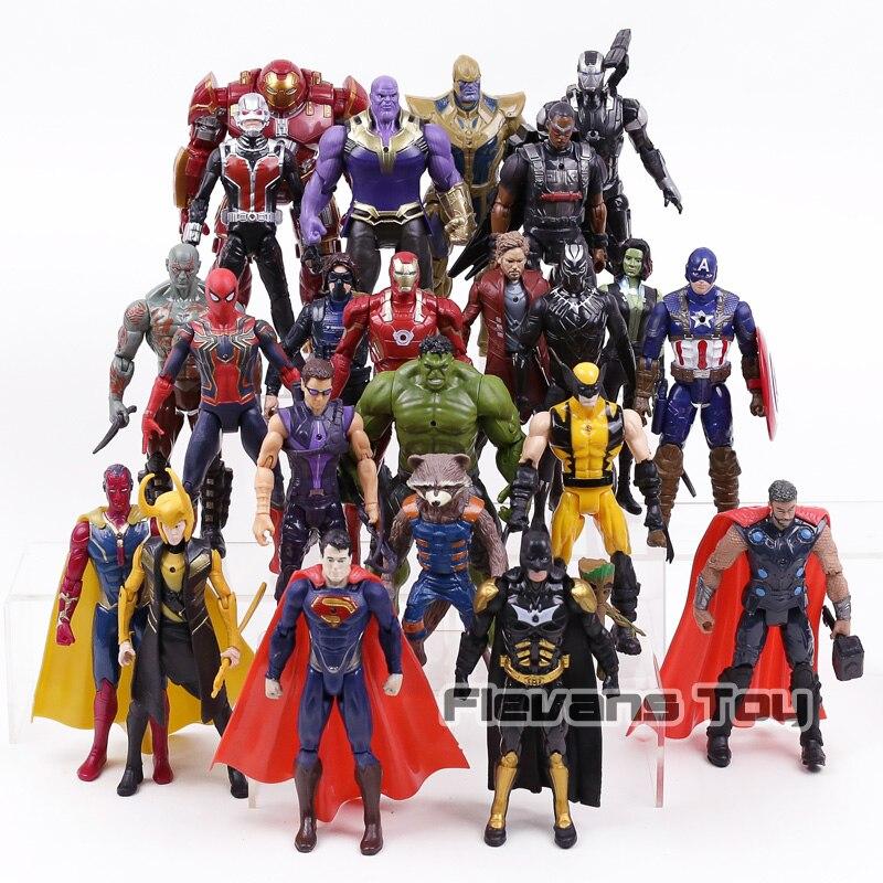 24 pcs/ensemble Vision Loki Superman Batman Spiderman Guerre Machine Logan Iron Man Captain America PVC Figurines Jouets