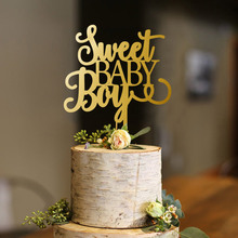 Baby Boy cake Topper, Sweet Cake Welcome Shower Gold Glitter  Topper
