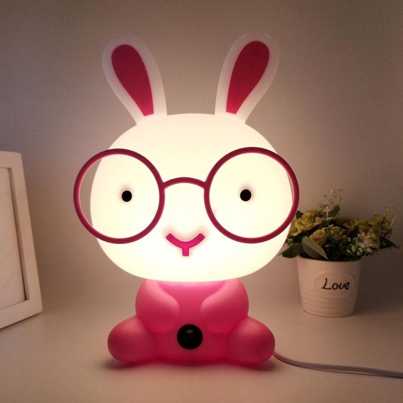 Cute Baby bedroom lamp rabbit Night light led night lamp Christmas Gift Bedside Decoration Kids Lovely glasses rabbits lights