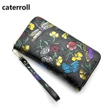 Купить с кэшбэком wallet women genuine leather purse ladis clutch money bag long floral women wallets and purses