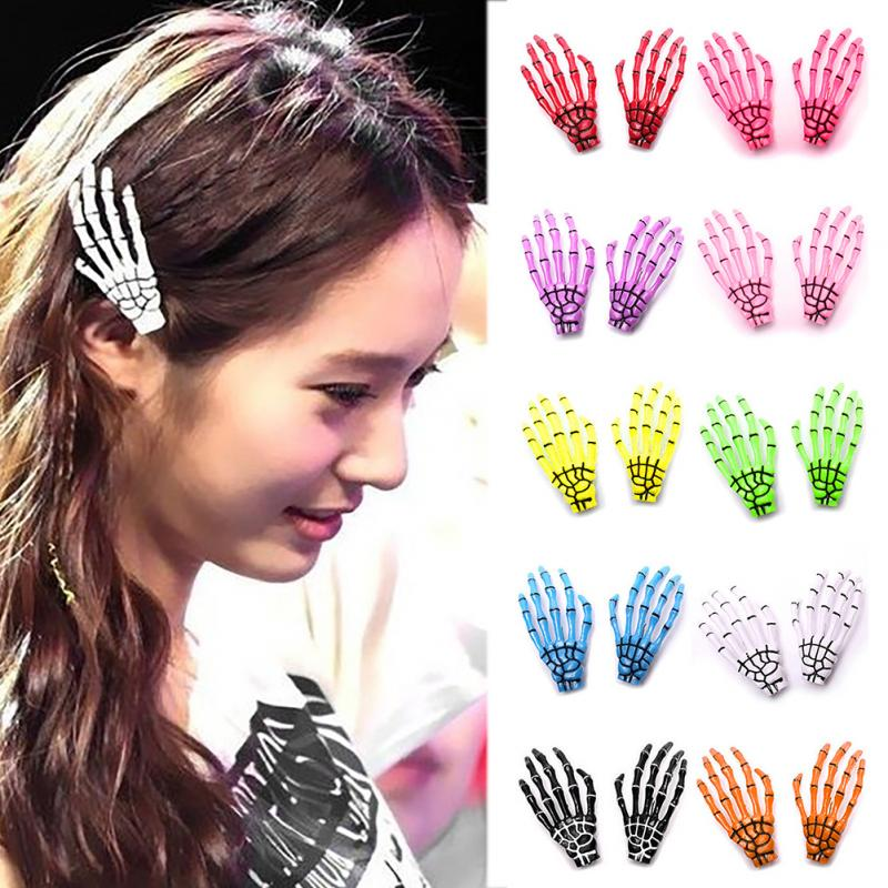 2016 New Fashion Skeleton Claws Skull Hand Hair Clip Hairpin Zombie Punk Personality Horror Hair Clip 2pcs/lot(China (Mainland))