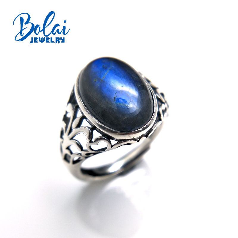 Bolaijewelry 925 sterling silver natural Labradorite oval10 14 mm stone fine jewelry gemstone aulic unisex Rings