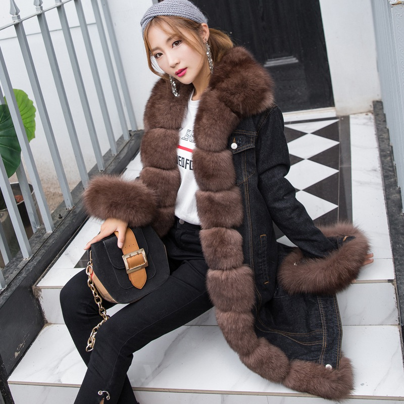 2018 New Arrival Brown Genuine Fox Fur Women Denim Coat With Natural Fox Fur Collar Trim Long Loose Size Female Winter Fur Parka