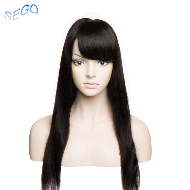 SEGO 10*12 Pure Color Human Hair Bangs Gradient Bangs Straight Clip In Hair Extension Bangs Non-Remy Human Hair Fringes 10g/pcs 1