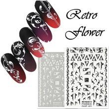 Newest MGM-2012 Retro flower pattern 3d nail sticker decals Japan style rhinestones DIY decoration for art