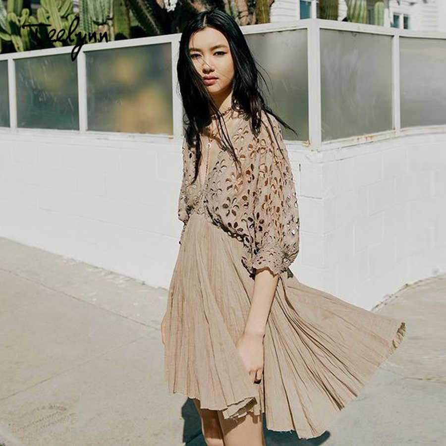 0be9c16e028a TEELYNN mini boho dress 2018 new sexy deep V-neck backless puff Sleeve  summer dresses