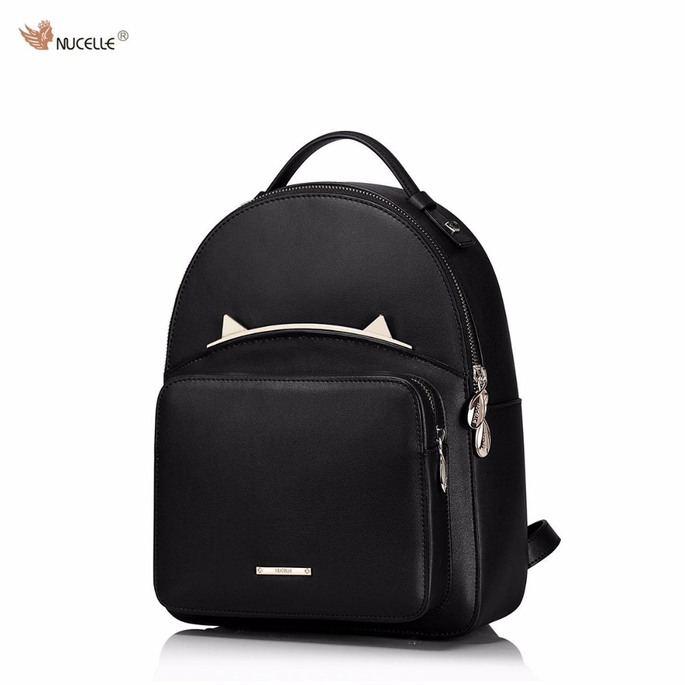 c75d791ca650 NUCELLE Brand Design Fashion Adorable Cute Cat Ears Cow Leather Women  Ladies Girls Feminine Backpack School Travel Shoulders Bag