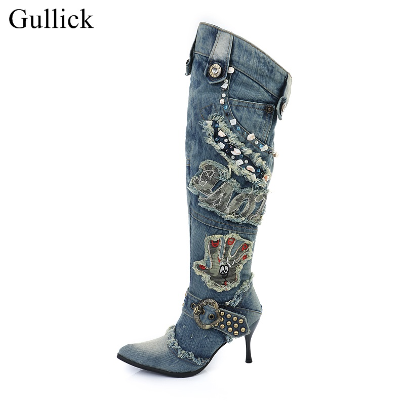 Hot Selling Blue Denim Knee High Boots Pointed Toe Thin Heels Fur Winter Boots For Women Side Zipper Gold Studded Long Boots fluffy synthetic lolita curly flax mixed gold long side bang capless cosplay wig for women