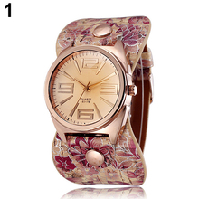 2015 New Hot New And Fashion Women's watch Rose Golden Floral Faux Leather Wide Band Analog Quartz Wrist Watch 5LF6 6T5J C2K5W