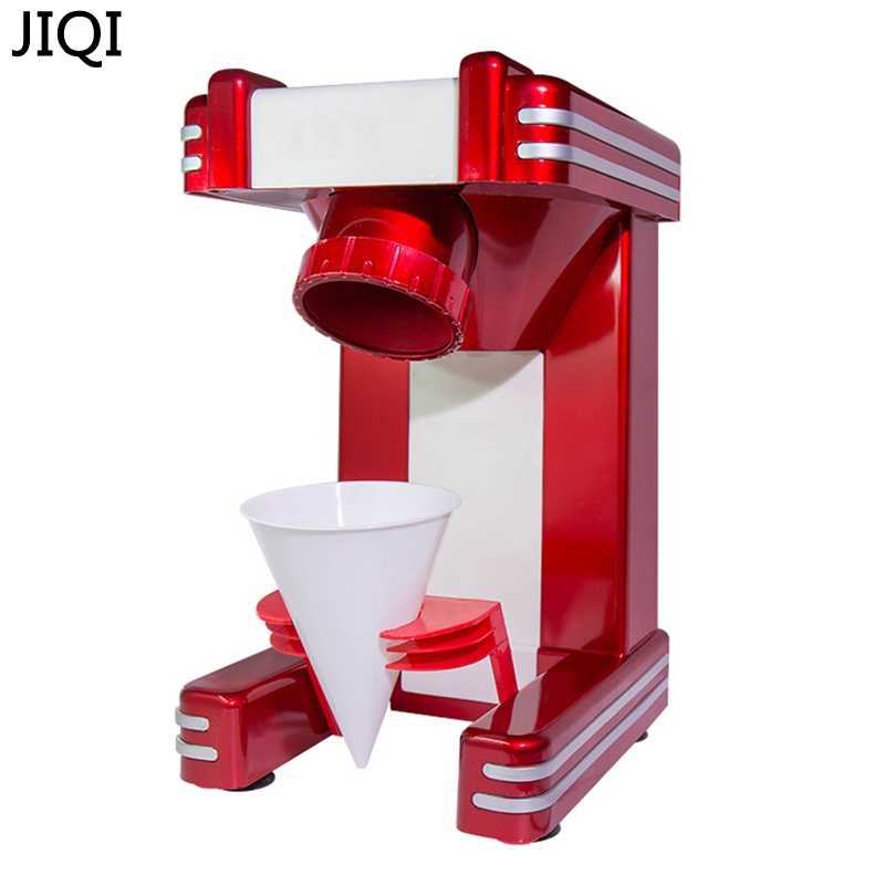 JIQI Household Electric Ice crusher shaver snow cone ice block making machine ice slush sand maker ice tea shop 220V EU ice shaving machine snow cone maker for milk tea shop