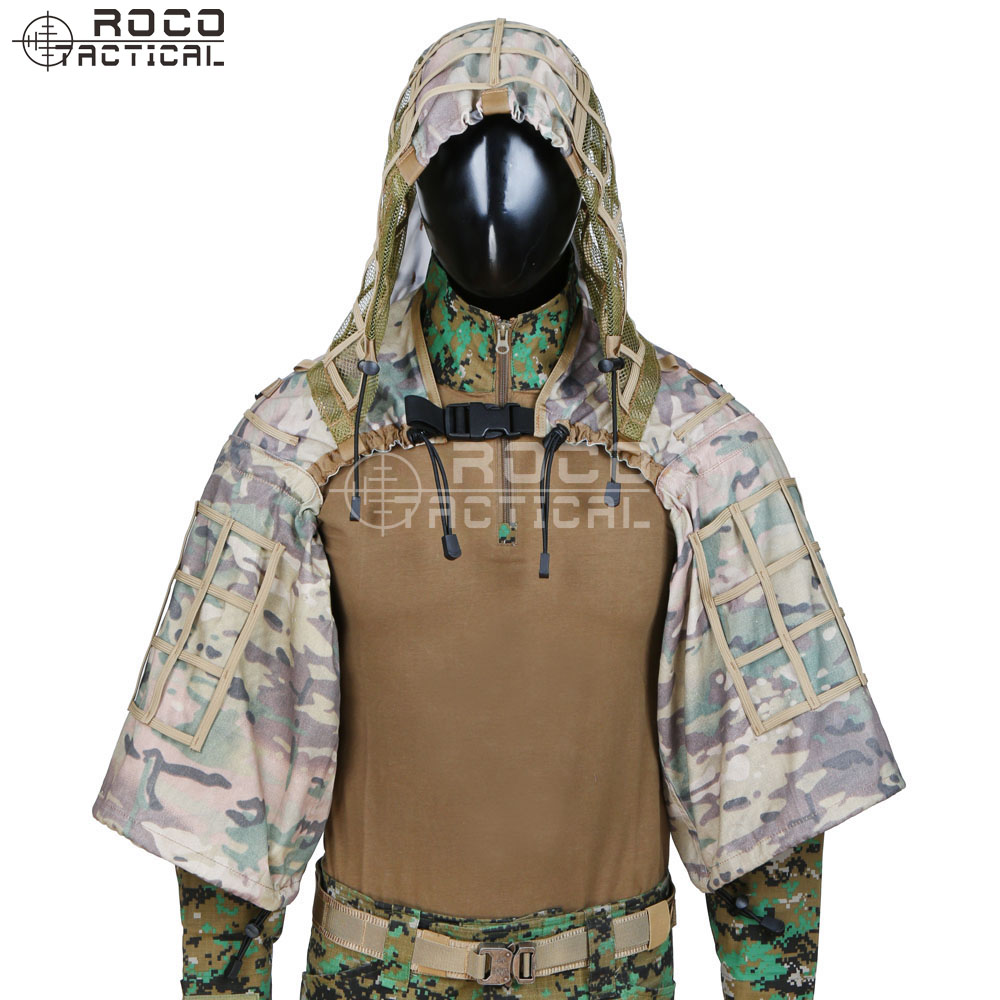 ROCOTACTICAL Army Sniper Coat Viper Hood Tactical Combat Sniper Suit Ghillie Suit Hood for Airsoft Paintball