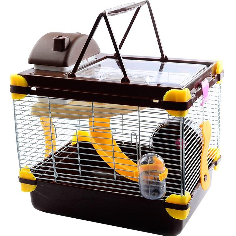 Portatile di Lusso Gabbia del Criceto Divertente Guinea Gabbia Acrilico Piccoli Animali Domestici Mouse di Casa con la Ruota Ferret Hedgehog Criceto Accessori