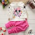 2015 новая Мода весна осень девушки детей комплект одежды хлопка детские девушки милые одежда наборы дети мультфильм рубашка + брюки 2 pcssuit