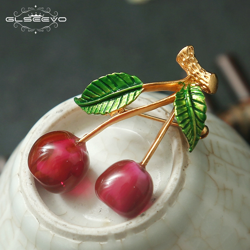 GLSEEVO Purple Glaze Cherry Brooch Pins And Brooches Gift For Women Accessories Wedding Dual Use Luxury Fine Jewellery GO0135 цифровое пианино yamaha clp 635wa