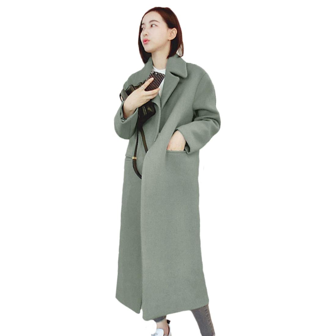 Elegant Women Winter Lapel Wool Cashmere Jacket Coat   Trench   Long Parka Overcoat