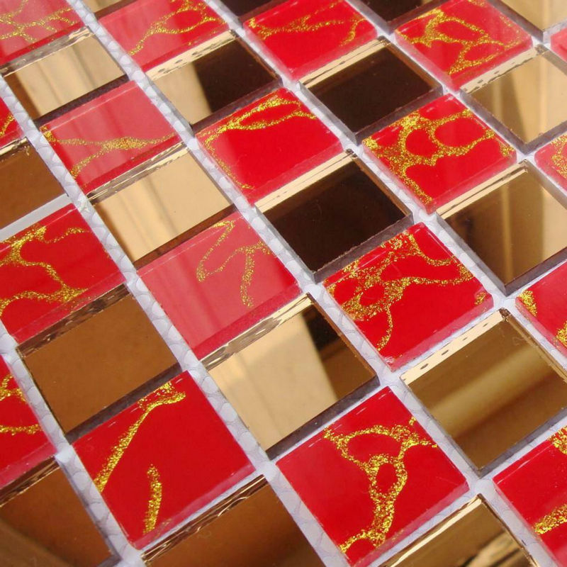 Red Floor Tiles Kitchen: Crystal Glass Tile Mosaic Glass Mirror Tiles Red Mirrored
