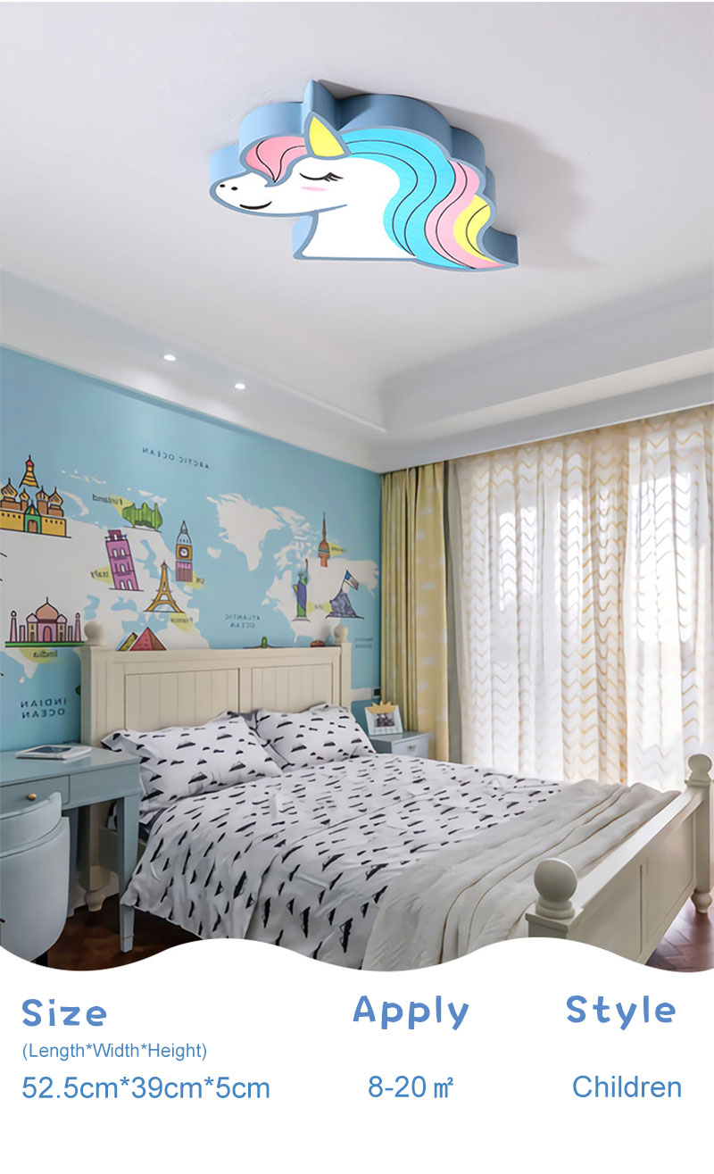 HTB1DK4HawmH3KVjSZKzq6z2OXXah Unicorn kids room light led ceiling lights with remote control cartoon lampshade children room cute ceiling lamp deco child room