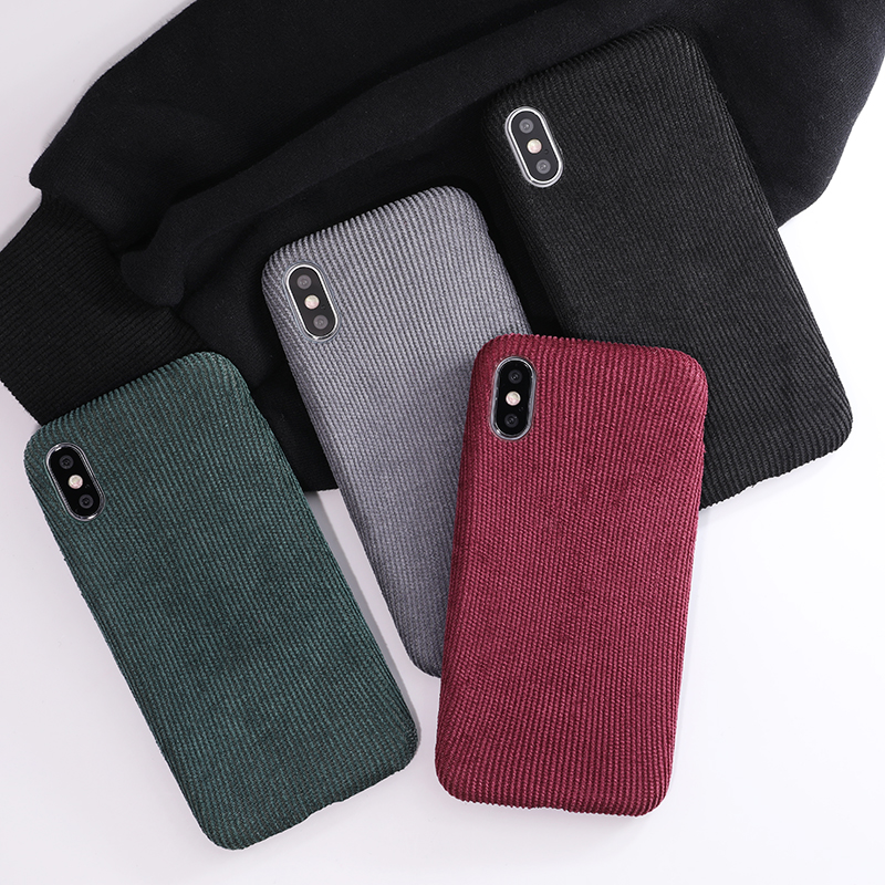 SoCouple Plush Fabrics Phone Case For iphone X 7 8 6 6S plus Case For iphone Xs max XR Cloth Texture Soft Back Cover Capa Fundas (1)