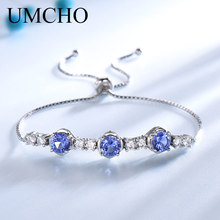 UMCHO Round Created Tanzanite Gemstone Bracelets & Bangles Luxury 925 Sterling Silver Bracelet For Women Gifts Free Expansion