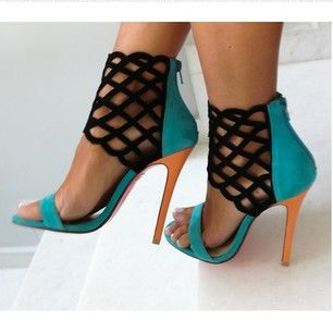 Fashion high thin cover heel peep toe sexy and beautiful fretwork sandals blue for woman in summer big size 35-41 fashion geometric cut out high thin heel fretwork back strap lace up peep toe sandals for woman in summer big size 35 41