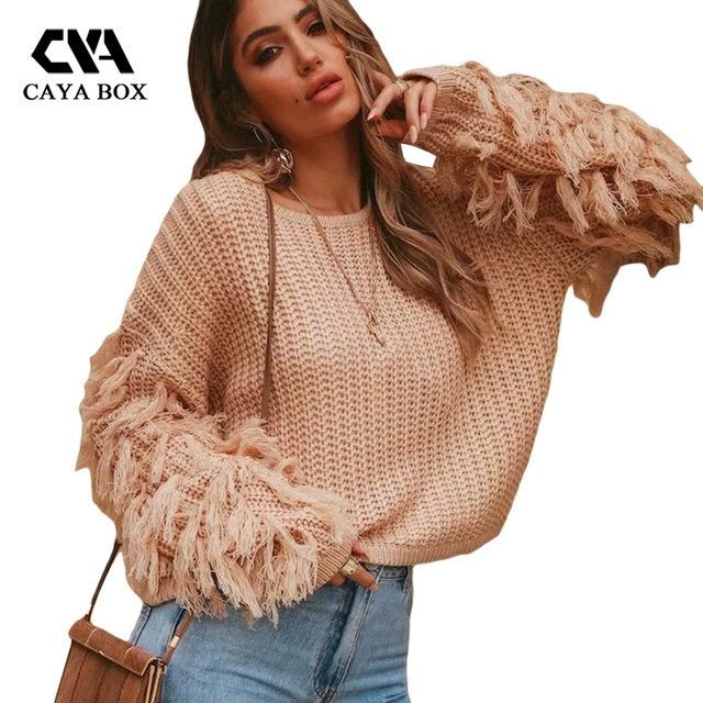2018 Autumn Winter Knitted Sweater Women Loose Tassel Knitting Pullovers Long Sleeve Batwing Causal Girls Tops