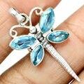 Hand make  Genuine Blue Topaz Pendant, 100% 925 Sterling Silver, 40mm, 3.6g, AP0252