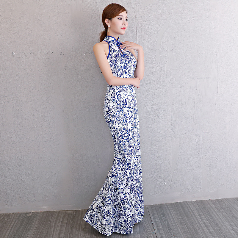 Chinese Wedding Gowns: White Blue Modern Chinese Wedding Gowns Traditional Qipao