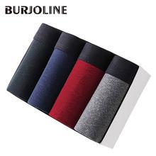 46fe7cf0ec BURJOLINE Men s Underwear 4Pcs lot Cotton Boxer Man Breathable Solid  Flexible Shorts Boxer Underpants B0007