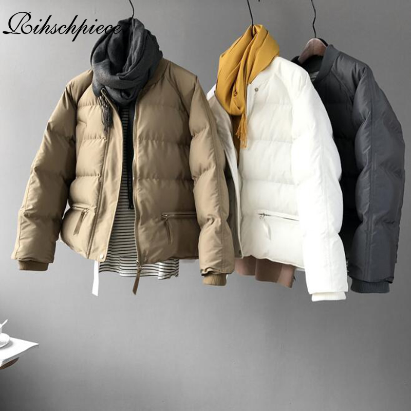 Rihschpiece 2018 Winter   Parka   Women Jacket White Cotton Padded Coat Short Ladies Jackets Pocket Clothes RZF1363