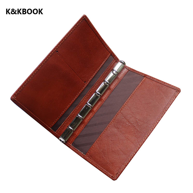 K&KBOOK Cow Genuine Leather Sprial Notebook A7 Pocket Travel Journal Handmade Notepad Vintage loose leaf Journal school supplies leather notebook diary loose leaf notebook vintage travel notepad leather notepad customization office school supplies n112