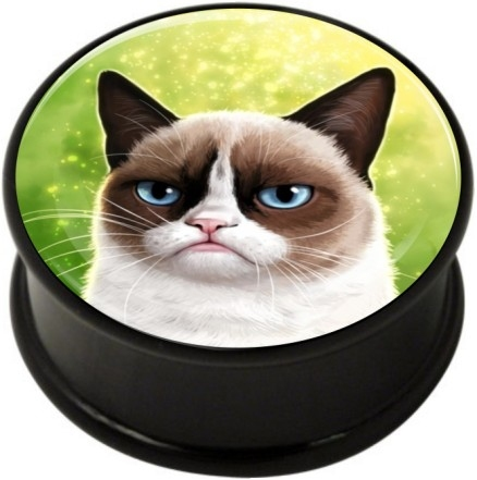 1 pair grumpy cat single flare ear plug gauges tunnel flesh tunnel with rubber ring body piercing jewelry
