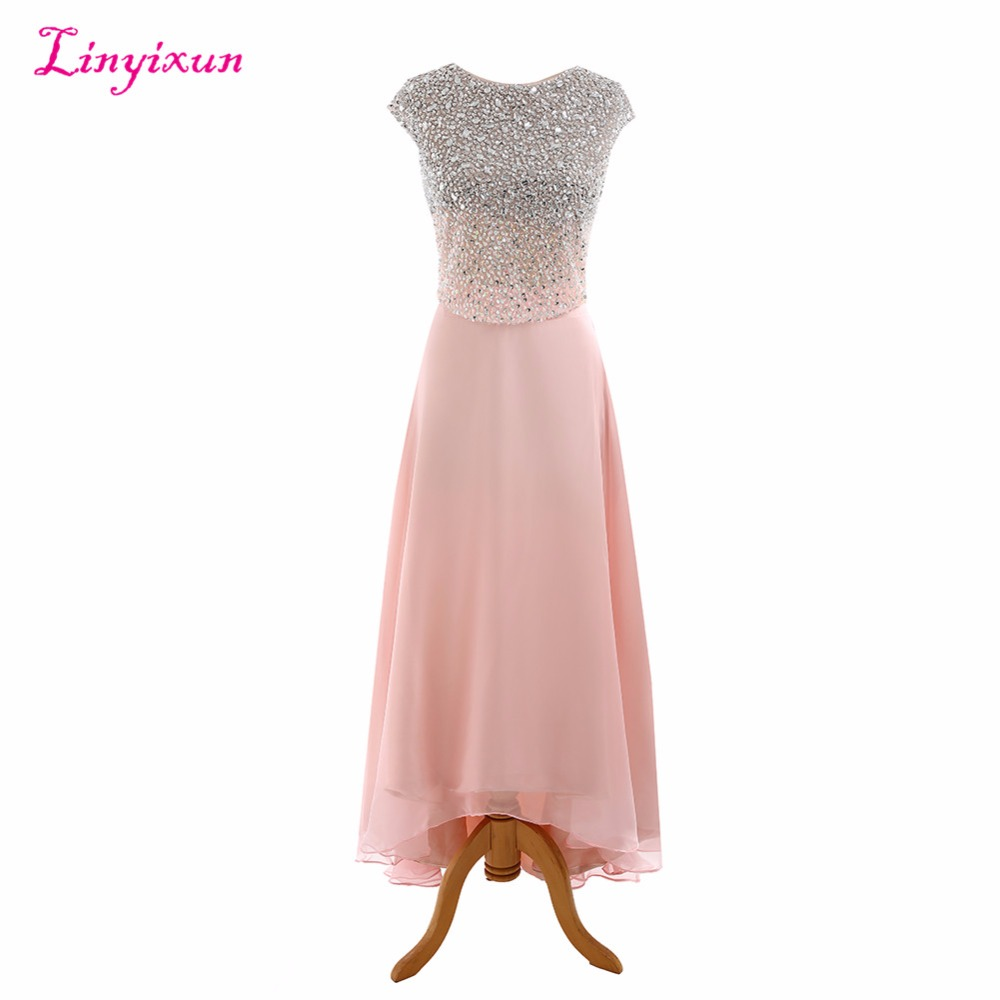 Linyixun Real Photo New Arrived   Prom     Dresses   Scoop vestido de festa With Beaded Ankle Length Formal Evening Party Gowns 2017