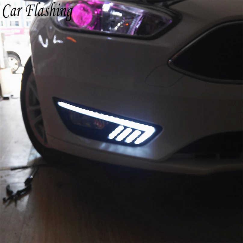 2 шт. поворотов и затемнения стиль реле светодиодный авто DRL Дневной светильник противотуманная фара для Ford Focus 2015 2016 2017 2018