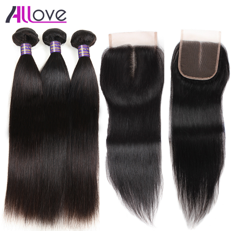 Allove Hair Remy Brazilian Straight Hair Bundles With Closure 100% Human Hair Brazilian Hair Weave Bundles With Closure 4PCS/LOT