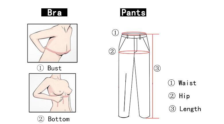 尺码测量bra和裤子