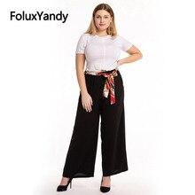 купить Thin Summer Pants Black Trousers Plus Size Women Casual Loose High Waist Wide Leg Pants CMC1931 по цене 1052.38 рублей