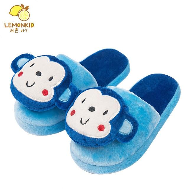 LEMONKID Korea 2017 Spring Plushy Slippers Kids 3D Cartoon Monkey Slippers Child Warm Winter House Shoes Boys Nonslip
