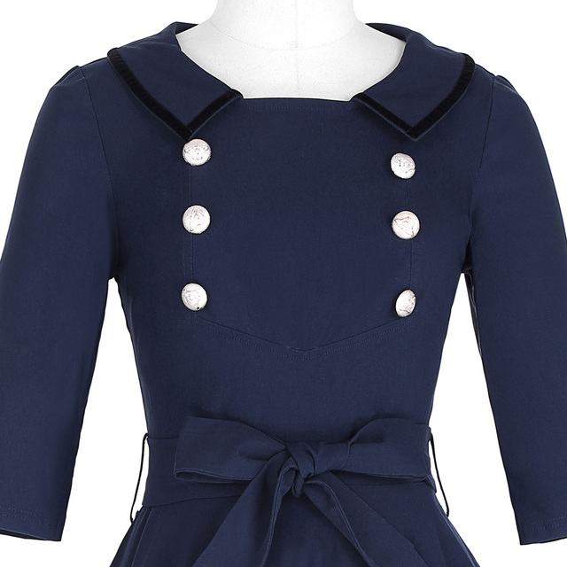 Women Autumn Spring Sexy Casual Dress 3/4 Sleeve Navy Blue Office Work Clothing Elegant Vintage Swing Party Rockabilly Dresses