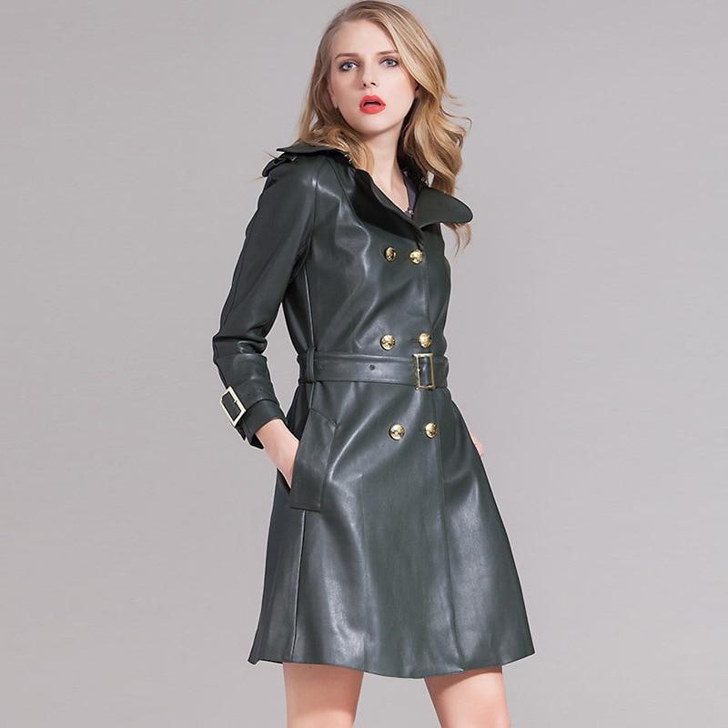 Women's Motorcycle Winter Faux   Leather   Sheepskin Jacket Long Coat Female PU Simply Add Merry Christmas