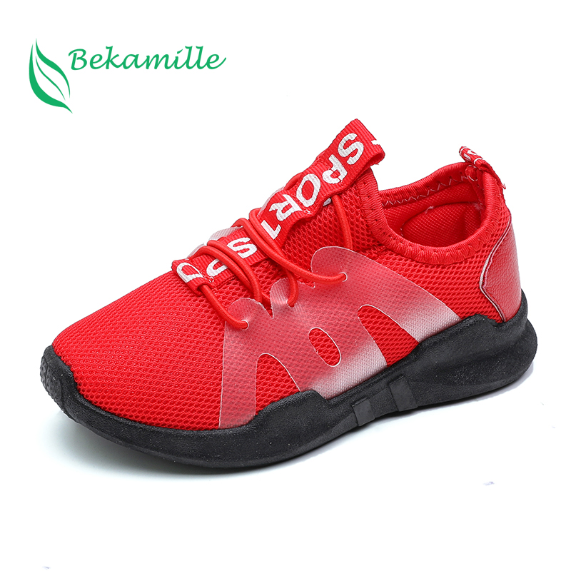 Children Sport Shoes Casual Fashion Boys Girls Net Cloth Breathable Shoes Kids Sneakers Student Outdoor Running Shoes Red Black