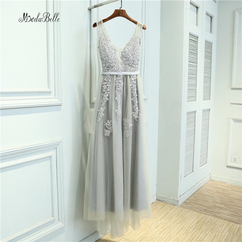 Modabelle Grey Pearls Bridesmaid Dresses Long Tulle Renda Pernikahan Gaun Partai Pengantin Bridesmaid Dubai Vestido De Madrinha Longo