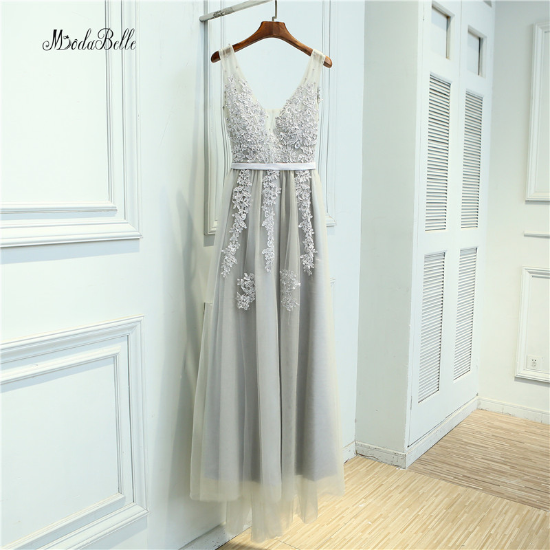 Modabelle Grey Pearls   Bridesmaid     Dresses   Long Tulle Lace Wedding Party   Dresses   Dubai   Bridesmaid     Dress   Vestido De Madrinha Longo