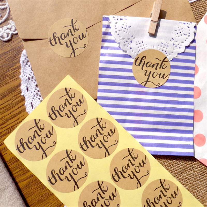 120pcs Hot Sale Thank You Sticker Circle Handmade DIY Packaging Sealing Label 3 8cm Kraft Sticker Baking DIY Gift Round Stickers in Party DIY Decorations from Home Garden