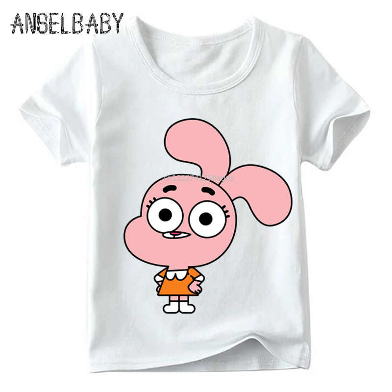 Meninos e meninas o incrível mundo de gumball personagem dos desenhos animados imprimir t camisa crianças verão topos crianças engraçado camiseta, ooo5126