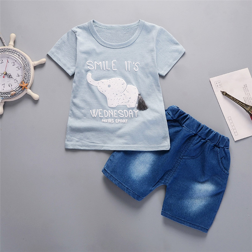 2018 Summer Cute Casual Sport Suits Baby Boys Infant Elephant Short Sleeved T-shirts Tops Outfits Clothes Sets Dropshipping p#